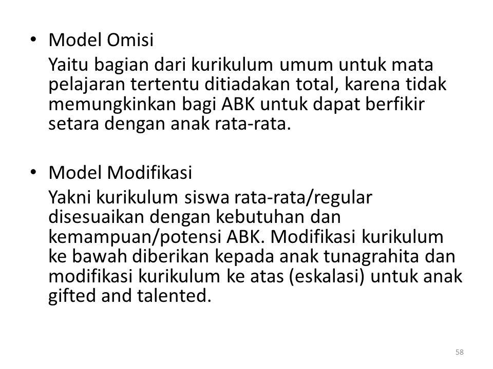 Model Omisi Yaitu bagian dari kurikulum umum untuk mata pelajaran tertentu ditiadakan total, karena tidak memungkinkan bagi ABK untuk dapat berfikir s