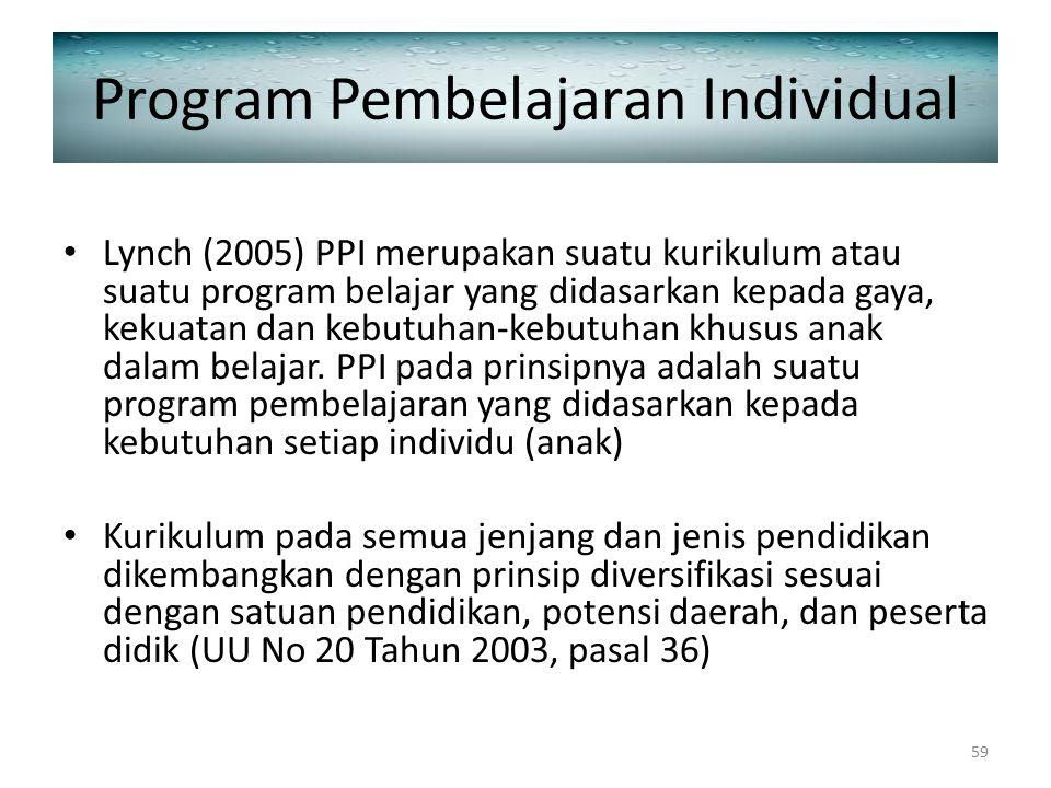Program Pembelajaran Individual Lynch (2005) PPI merupakan suatu kurikulum atau suatu program belajar yang didasarkan kepada gaya, kekuatan dan kebutu