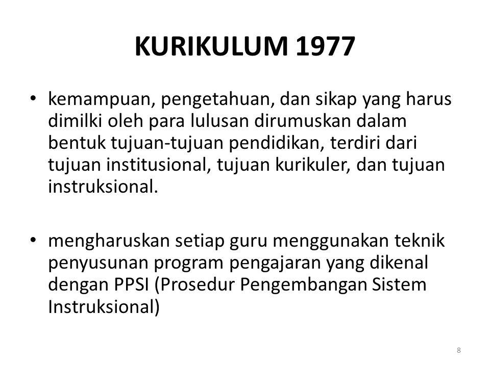 KURIKULUM 1977 kemampuan, pengetahuan, dan sikap yang harus dimilki oleh para lulusan dirumuskan dalam bentuk tujuan-tujuan pendidikan, terdiri dari t