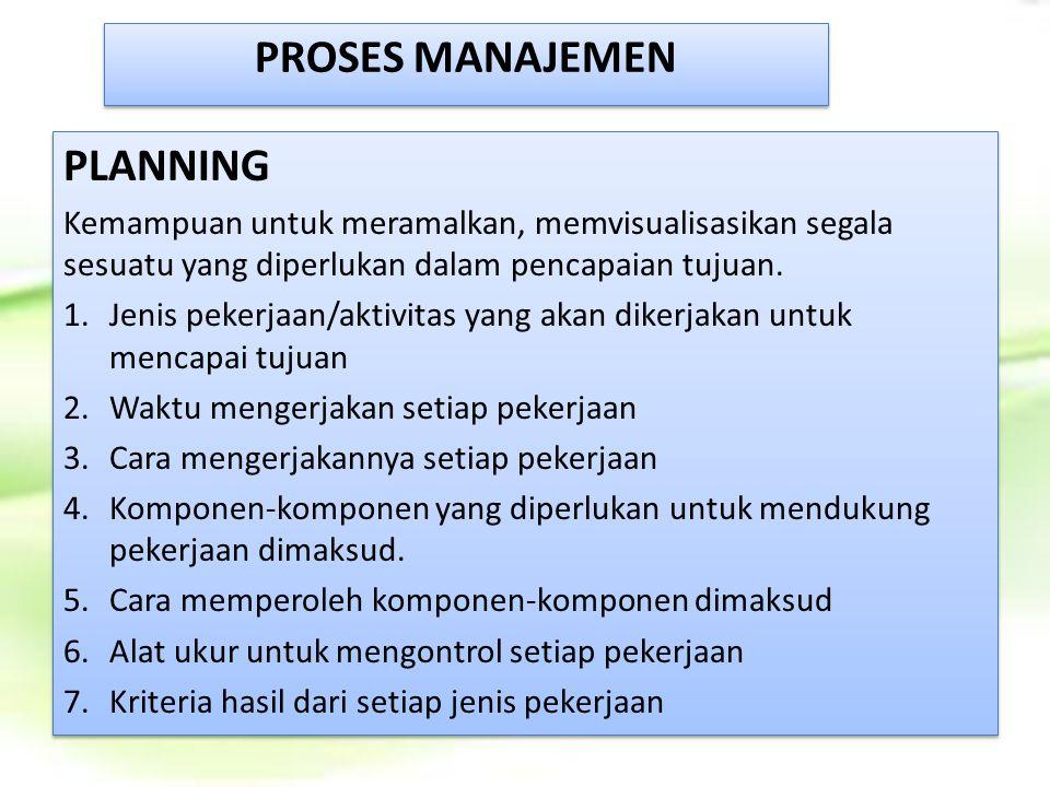 PROSES MANAJEMEN PLANNING Kemampuan untuk meramalkan, memvisualisasikan segala sesuatu yang diperlukan dalam pencapaian tujuan. 1.Jenis pekerjaan/akti