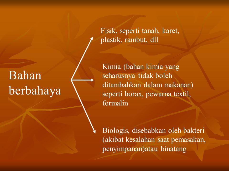 Bahaya Biologis Karena mikroba (bakteri) Karena mikroba (bakteri) Karena binatang (lalat, tikus, kecoa, dll) Karena binatang (lalat, tikus, kecoa, dll) rendahnya kondisi hygiene dan sanitasi penyimpanan yang kurang bersih