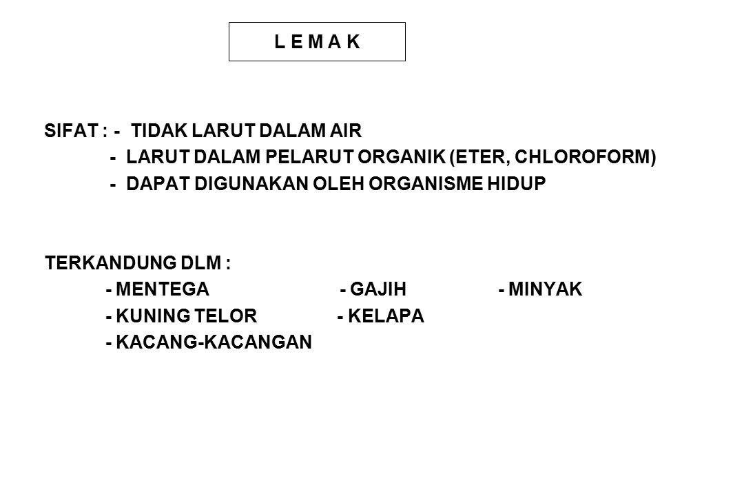L E M A K SIFAT : - TIDAK LARUT DALAM AIR - LARUT DALAM PELARUT ORGANIK (ETER, CHLOROFORM) - DAPAT DIGUNAKAN OLEH ORGANISME HIDUP TERKANDUNG DLM : - MENTEGA - GAJIH - MINYAK - KUNING TELOR - KELAPA - KACANG-KACANGAN