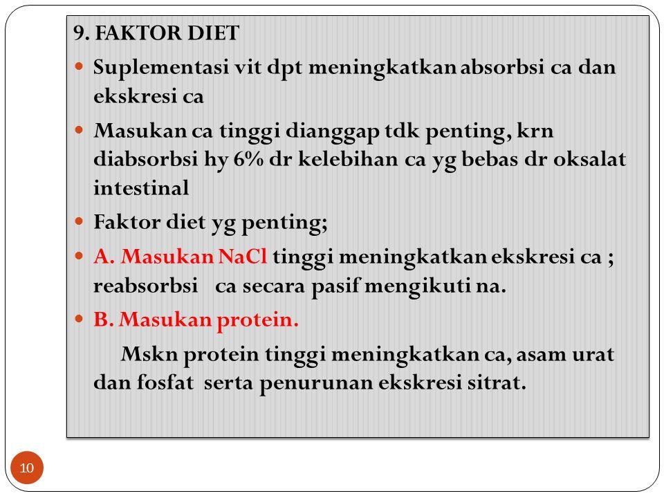 9. FAKTOR DIET Suplementasi vit dpt meningkatkan absorbsi ca dan ekskresi ca Masukan ca tinggi dianggap tdk penting, krn diabsorbsi hy 6% dr kelebihan