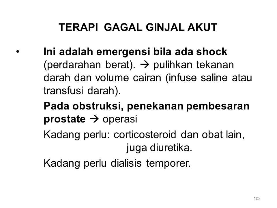 TERAPI GAGAL GINJAL AKUT Ini adalah emergensi bila ada shock (perdarahan berat).  pulihkan tekanan darah dan volume cairan (infuse saline atau transf