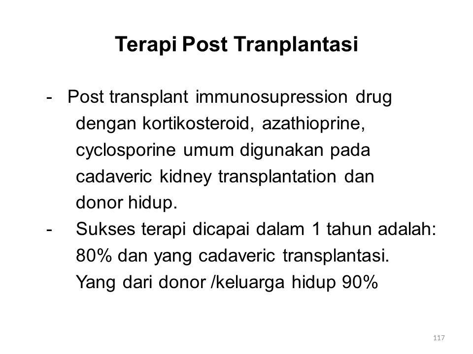 Terapi Post Tranplantasi - Post transplant immunosupression drug dengan kortikosteroid, azathioprine, cyclosporine umum digunakan pada cadaveric kidney transplantation dan donor hidup.