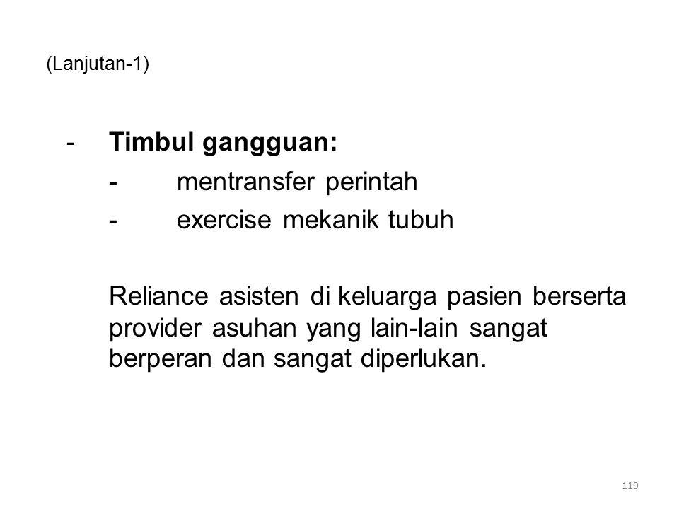 (Lanjutan-1) -Timbul gangguan: -mentransfer perintah -exercise mekanik tubuh Reliance asisten di keluarga pasien berserta provider asuhan yang lain-la