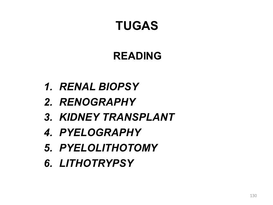 TUGAS READING 1.RENAL BIOPSY 2.RENOGRAPHY 3.KIDNEY TRANSPLANT 4.PYELOGRAPHY 5.PYELOLITHOTOMY 6.LITHOTRYPSY 130