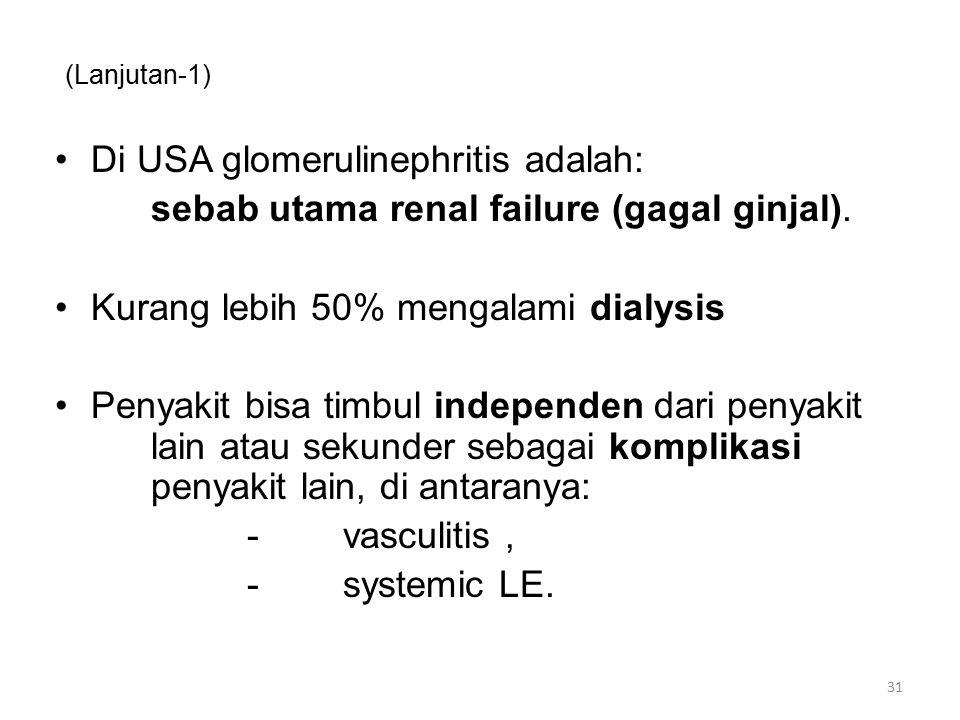 (Lanjutan-1) Di USA glomerulinephritis adalah: sebab utama renal failure (gagal ginjal). Kurang lebih 50% mengalami dialysis Penyakit bisa timbul inde