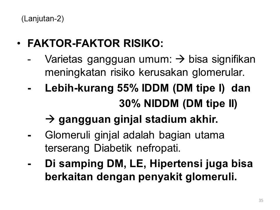 (Lanjutan-2) FAKTOR-FAKTOR RISIKO: -Varietas gangguan umum:  bisa signifikan meningkatan risiko kerusakan glomerular. -Lebih-kurang 55% IDDM (DM tipe
