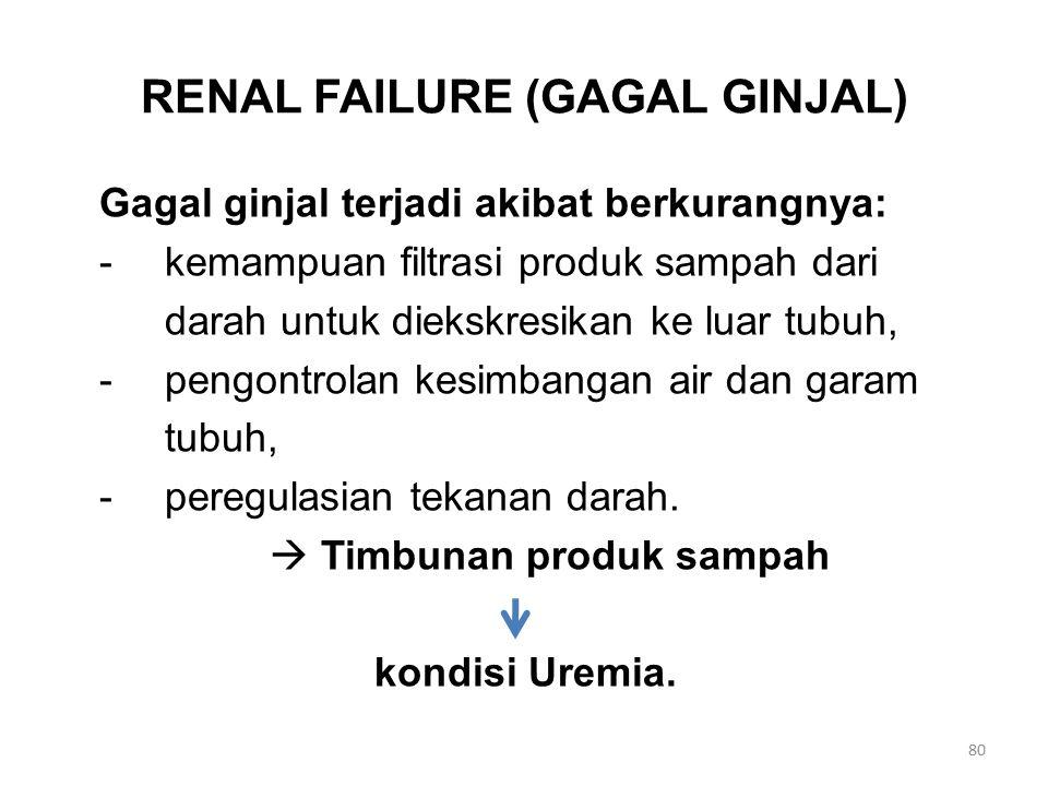 RENAL FAILURE (GAGAL GINJAL) Gagal ginjal terjadi akibat berkurangnya: -kemampuan filtrasi produk sampah dari darah untuk diekskresikan ke luar tubuh,