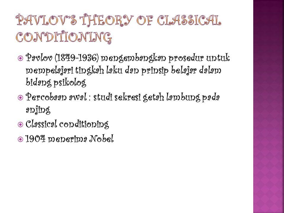  Pavlov (1849-1936) mengembangkan prosedur untuk mempelajari tingkah laku dan prinsip belajar dalam bidang psikolog  Percobaan awal : studi sekresi getah lambung pada anjing  Classical conditioning  1904 menerima Nobel