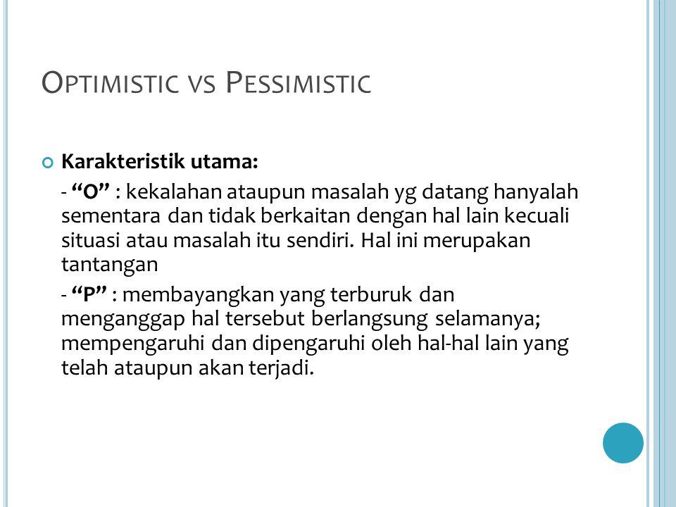 O PTIMISTIC VS P ESSIMISTIC Karakteristik utama: - O : kekalahan ataupun masalah yg datang hanyalah sementara dan tidak berkaitan dengan hal lain kecuali situasi atau masalah itu sendiri.
