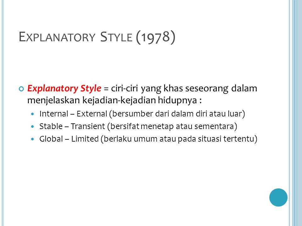E XPLANATORY S TYLE (1978) Explanatory Style = ciri-ciri yang khas seseorang dalam menjelaskan kejadian-kejadian hidupnya : Internal – External (bersumber dari dalam diri atau luar) Stable – Transient (bersifat menetap atau sementara) Global – Limited (berlaku umum atau pada situasi tertentu)