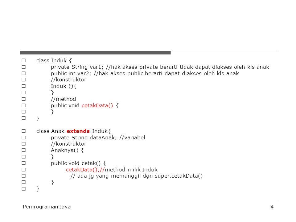 Pemrograman Java5  class DemoPewarisan {  public static void main(String args[]) {  System.out.println( Demo Pewarisan );  System.out.println( isi var 2 +anak.var2);  Anak anak = new Anak();  anak.cetak();  anak.cetakData();  }