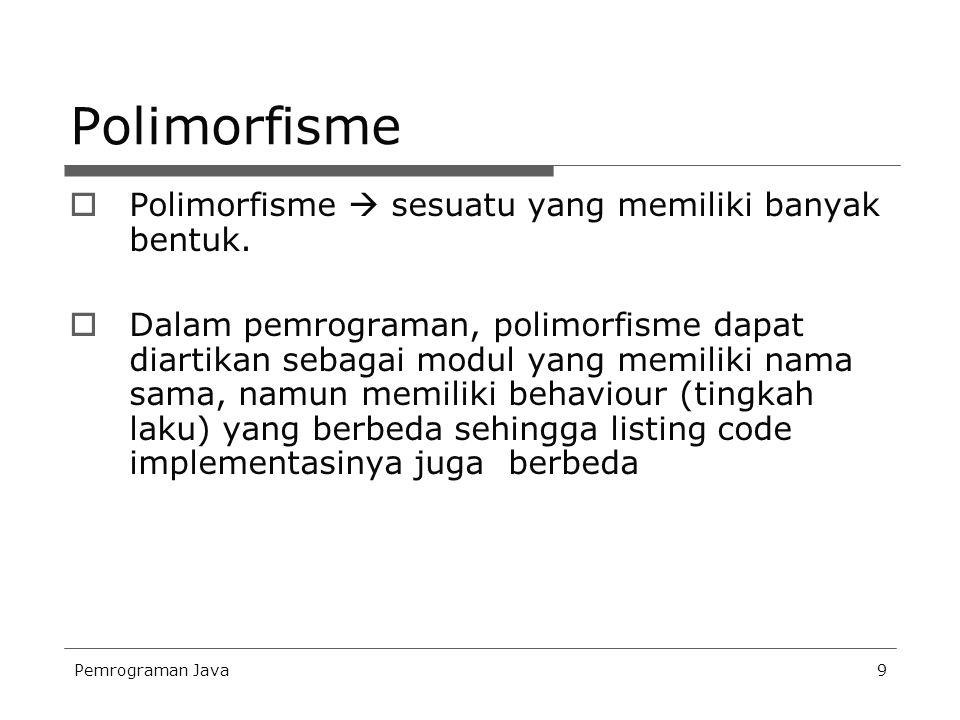 Pemrograman Java9 Polimorfisme  Polimorfisme  sesuatu yang memiliki banyak bentuk.  Dalam pemrograman, polimorfisme dapat diartikan sebagai modul y