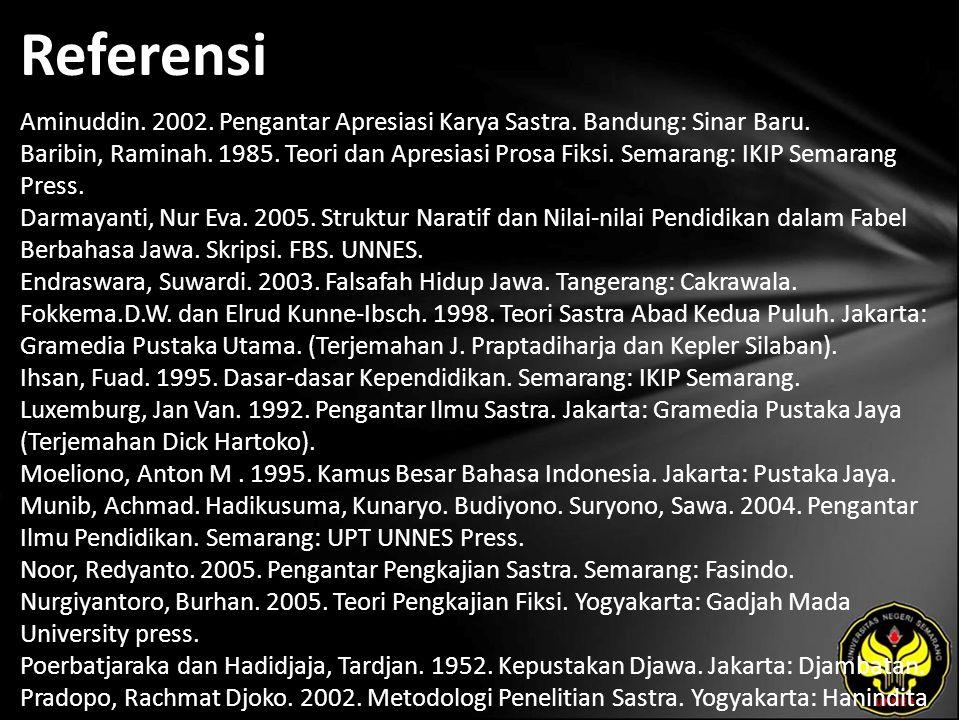 Referensi Aminuddin. 2002. Pengantar Apresiasi Karya Sastra. Bandung: Sinar Baru. Baribin, Raminah. 1985. Teori dan Apresiasi Prosa Fiksi. Semarang: I