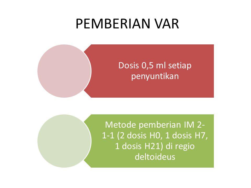 PEMBERIAN VAR Dosis 0,5 ml setiap penyuntikan Metode pemberian IM 2- 1-1 (2 dosis H0, 1 dosis H7, 1 dosis H21) di regio deltoideus