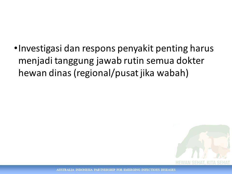 AUSTRALIA INDONESIA PARTNERSHIP FOR EMERGING INFECTIOUS DISEASES Investigasi dan respons penyakit penting harus menjadi tanggung jawab rutin semua dok