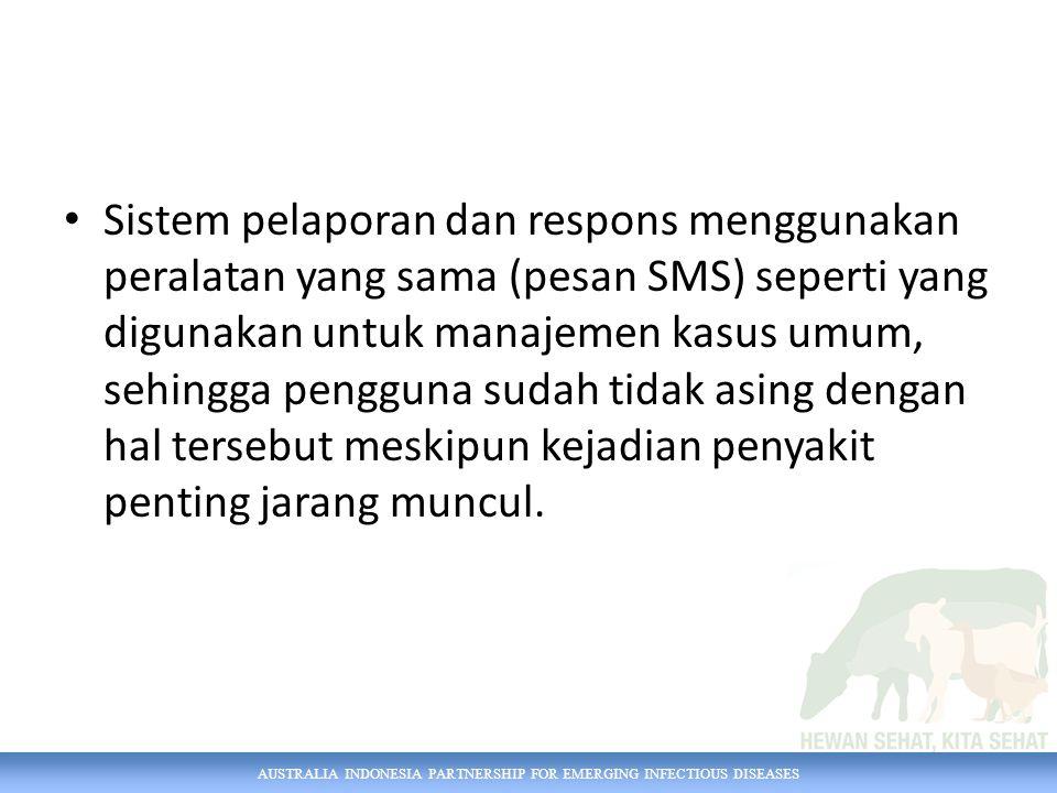 AUSTRALIA INDONESIA PARTNERSHIP FOR EMERGING INFECTIOUS DISEASES Sistem pelaporan dan respons menggunakan peralatan yang sama (pesan SMS) seperti yang