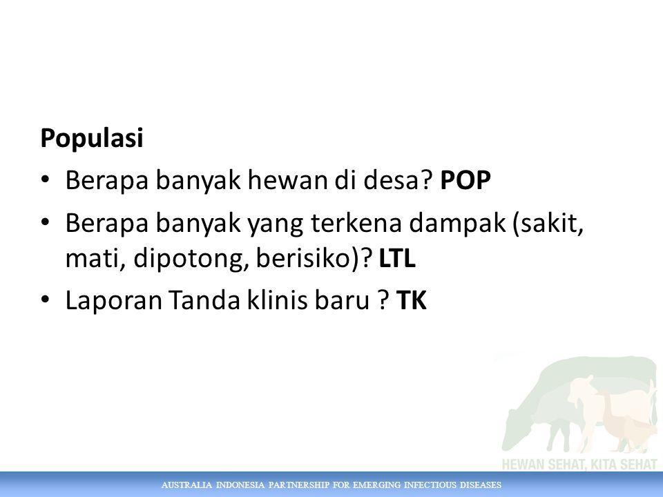 AUSTRALIA INDONESIA PARTNERSHIP FOR EMERGING INFECTIOUS DISEASES Populasi Berapa banyak hewan di desa? POP Berapa banyak yang terkena dampak (sakit, m