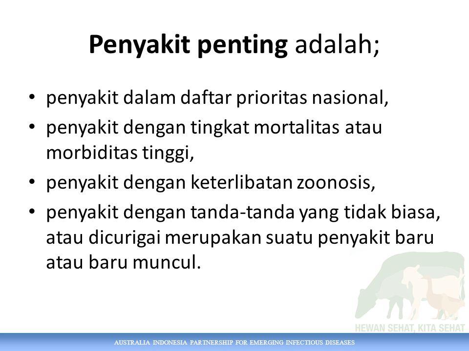 AUSTRALIA INDONESIA PARTNERSHIP FOR EMERGING INFECTIOUS DISEASES Penyakit penting adalah; penyakit dalam daftar prioritas nasional, penyakit dengan ti