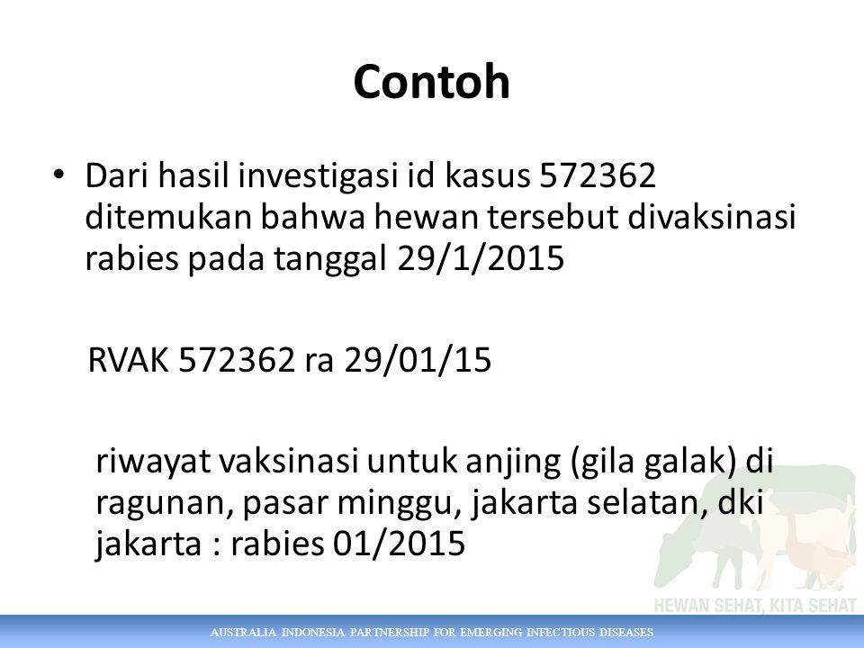 AUSTRALIA INDONESIA PARTNERSHIP FOR EMERGING INFECTIOUS DISEASES Contoh Dari hasil investigasi id kasus 572362 ditemukan bahwa hewan tersebut divaksin