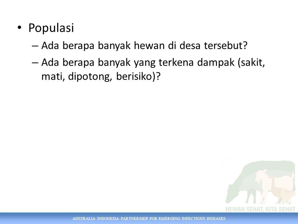 AUSTRALIA INDONESIA PARTNERSHIP FOR EMERGING INFECTIOUS DISEASES Populasi – Ada berapa banyak hewan di desa tersebut? – Ada berapa banyak yang terkena