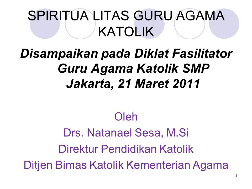 SPIRITUA LITAS GURU AGAMA KATOLIK Disampaikan pada Diklat Fasilitator Guru Agama Katolik SMP Jakarta, 21 Maret 2011 Oleh Drs.