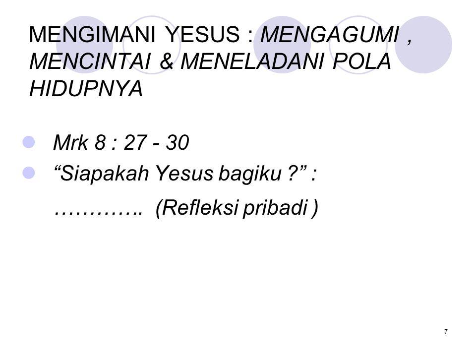 MENGIMANI YESUS : MENGAGUMI, MENCINTAI & MENELADANI POLA HIDUPNYA Mrk 8 : 27 - 30 Siapakah Yesus bagiku ? : ………….