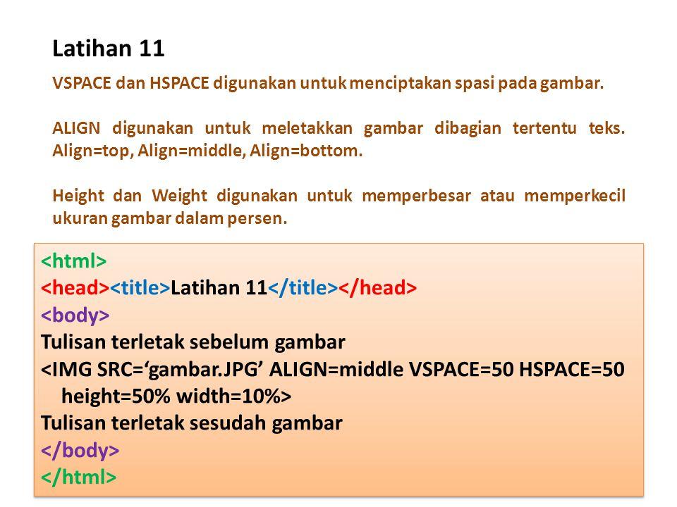 Latihan 11 VSPACE dan HSPACE digunakan untuk menciptakan spasi pada gambar. ALIGN digunakan untuk meletakkan gambar dibagian tertentu teks. Align=top,