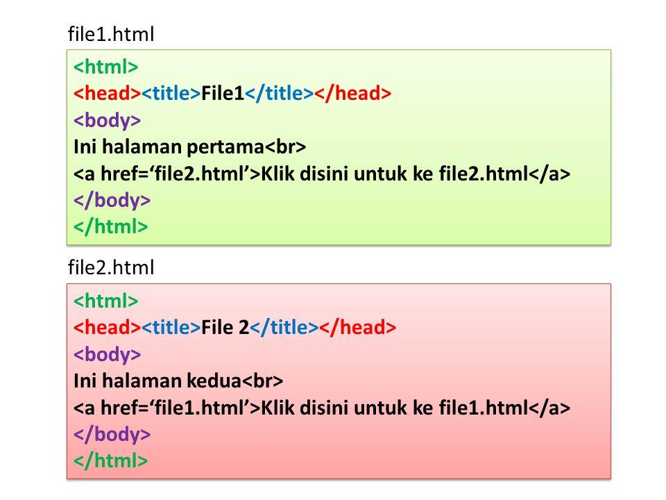 file2.html File 2 Ini halaman kedua Klik disini untuk ke file1.html File 2 Ini halaman kedua Klik disini untuk ke file1.html File1 Ini halaman pertama Klik disini untuk ke file2.html File1 Ini halaman pertama Klik disini untuk ke file2.html file1.html