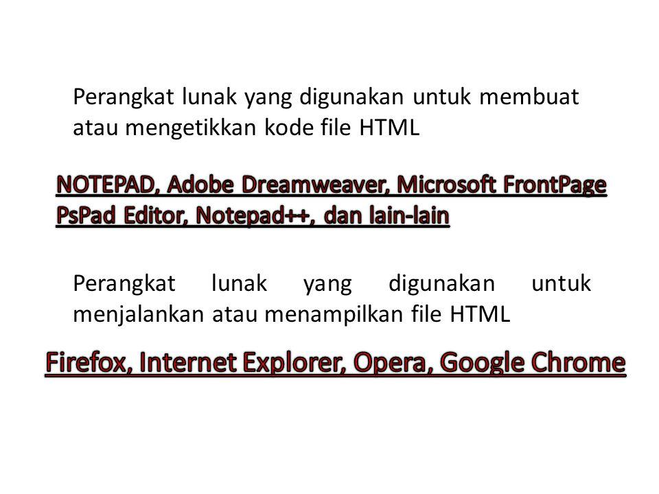 Perangkat lunak yang digunakan untuk membuat atau mengetikkan kode file HTML Perangkat lunak yang digunakan untuk menjalankan atau menampilkan file HTML