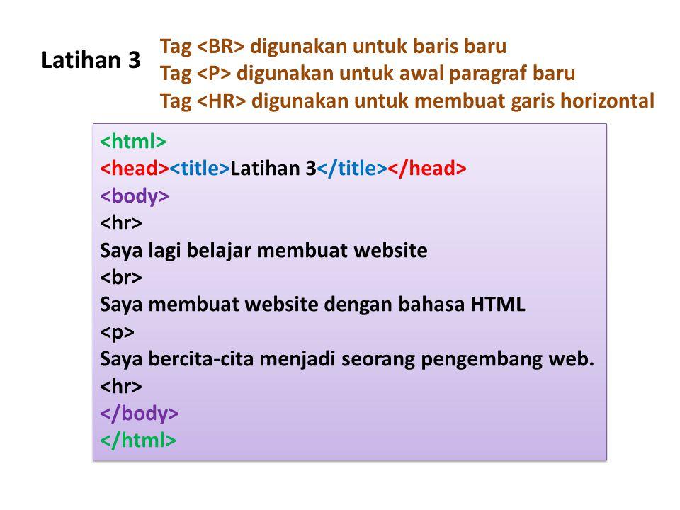 Latihan 3 Latihan 3 Saya lagi belajar membuat website Saya membuat website dengan bahasa HTML Saya bercita-cita menjadi seorang pengembang web. Latiha