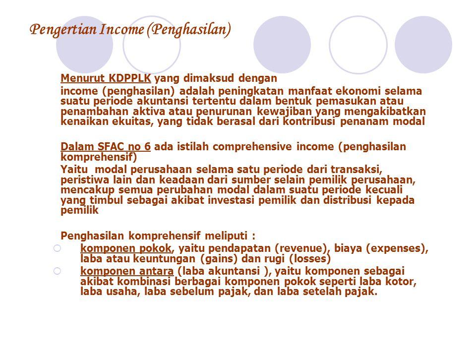 Pengertian Income (Penghasilan) Menurut KDPPLK yang dimaksud dengan income (penghasilan) adalah peningkatan manfaat ekonomi selama suatu periode akunt