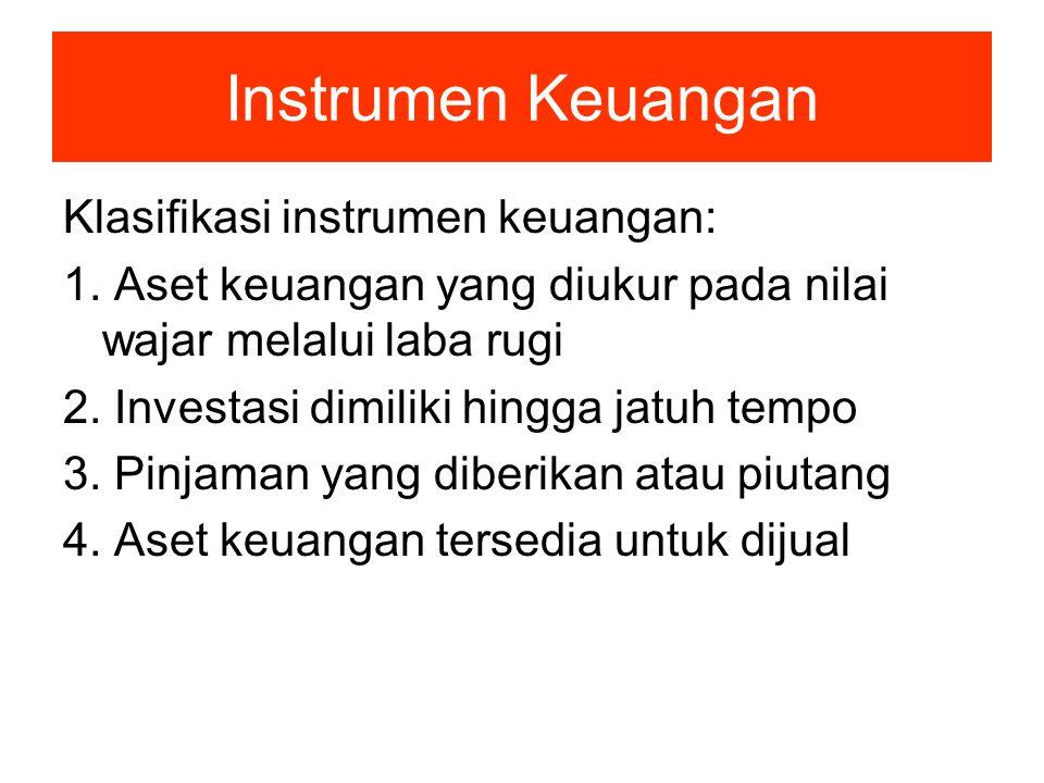 Instrumen Keuangan Klasifikasi instrumen keuangan: 1. Aset keuangan yang diukur pada nilai wajar melalui laba rugi 2. Investasi dimiliki hingga jatuh