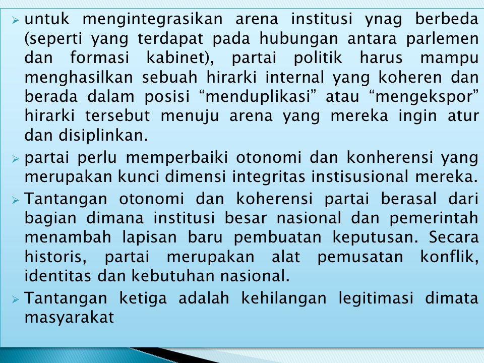  untuk mengintegrasikan arena institusi ynag berbeda (seperti yang terdapat pada hubungan antara parlemen dan formasi kabinet), partai politik harus