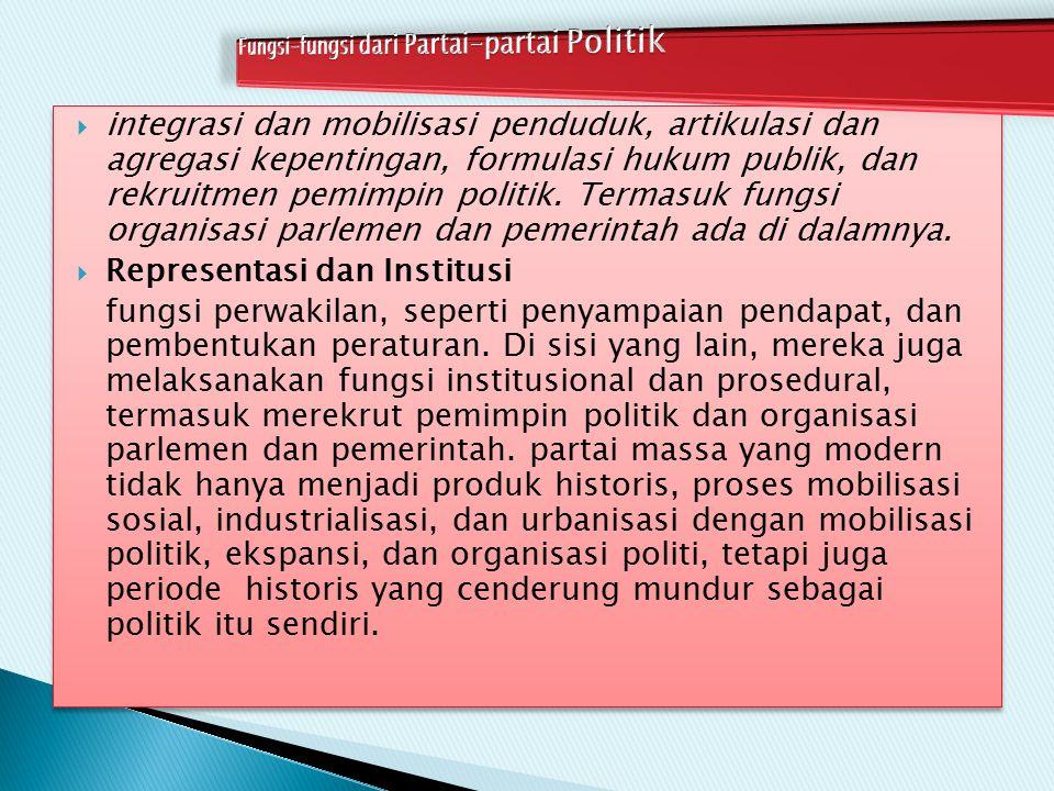  integrasi dan mobilisasi penduduk, artikulasi dan agregasi kepentingan, formulasi hukum publik, dan rekruitmen pemimpin politik. Termasuk fungsi org