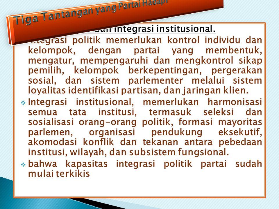 integrasi politik dan integrasi institusional.  Integrasi politik memerlukan kontrol individu dan kelompok, dengan partai yang membentuk, mengatur, m