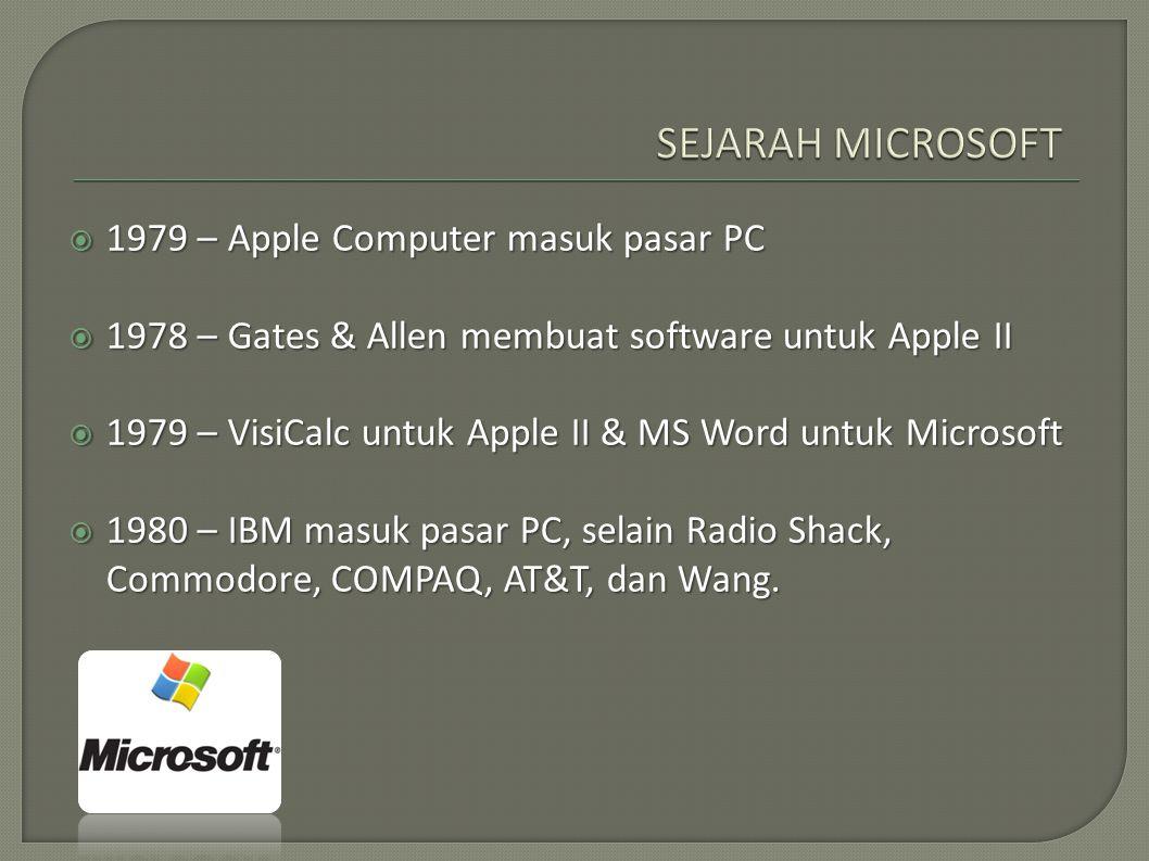  1979 – Apple Computer masuk pasar PC  1978 – Gates & Allen membuat software untuk Apple II  1979 – VisiCalc untuk Apple II & MS Word untuk Microso