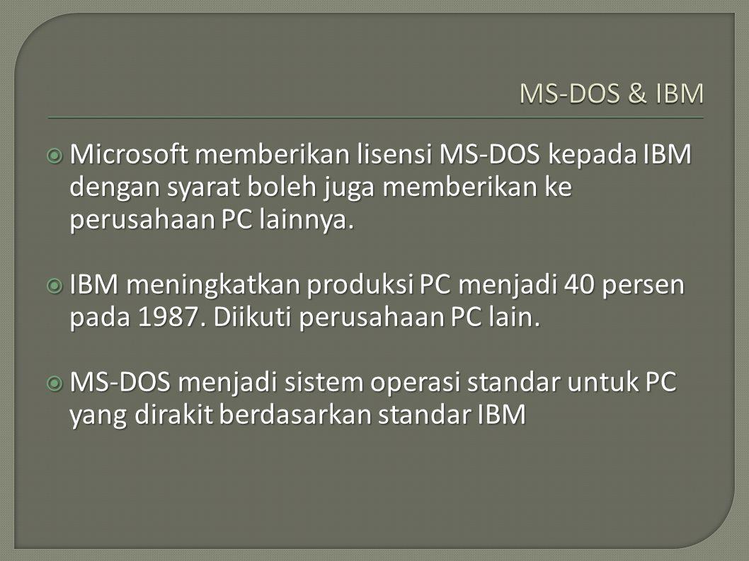  Microsoft memberikan lisensi MS-DOS kepada IBM dengan syarat boleh juga memberikan ke perusahaan PC lainnya.  IBM meningkatkan produksi PC menjadi