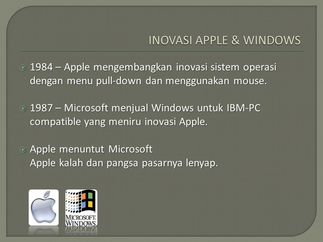  1984 – Apple mengembangkan inovasi sistem operasi dengan menu pull-down dan menggunakan mouse.  1987 – Microsoft menjual Windows untuk IBM-PC compa