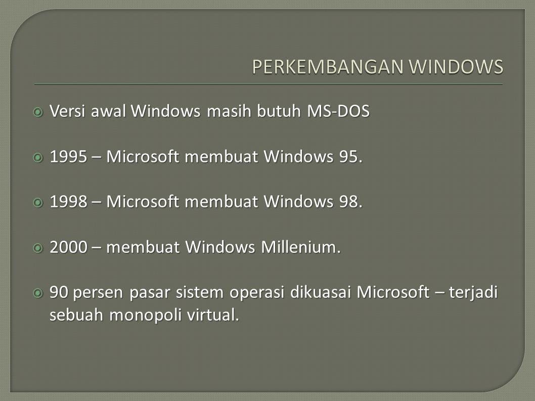  Versi awal Windows masih butuh MS-DOS  1995 – Microsoft membuat Windows 95.  1998 – Microsoft membuat Windows 98.  2000 – membuat Windows Milleni