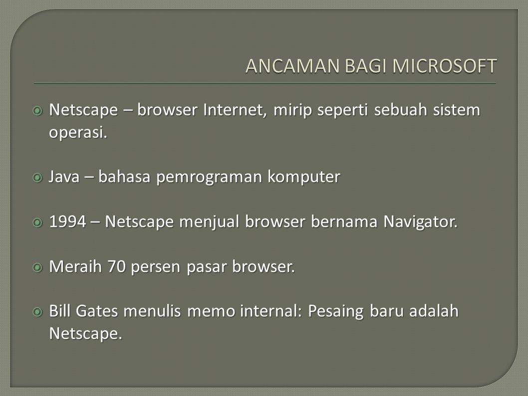 Netscape – browser Internet, mirip seperti sebuah sistem operasi.  Java – bahasa pemrograman komputer  1994 – Netscape menjual browser bernama Nav