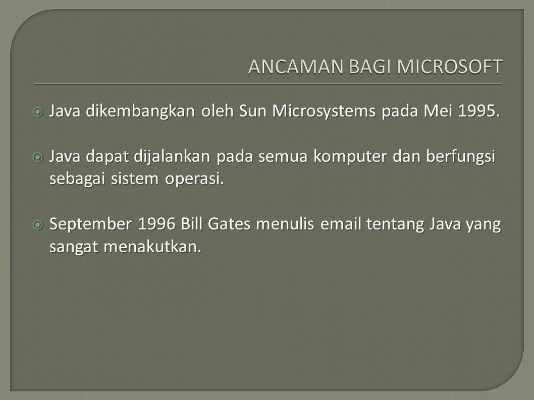  Java dikembangkan oleh Sun Microsystems pada Mei 1995.