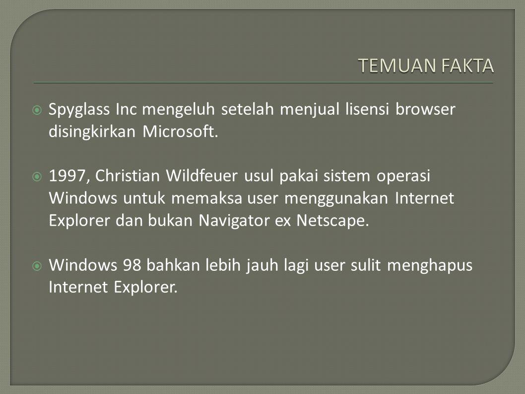  Spyglass Inc mengeluh setelah menjual lisensi browser disingkirkan Microsoft.  1997, Christian Wildfeuer usul pakai sistem operasi Windows untuk me