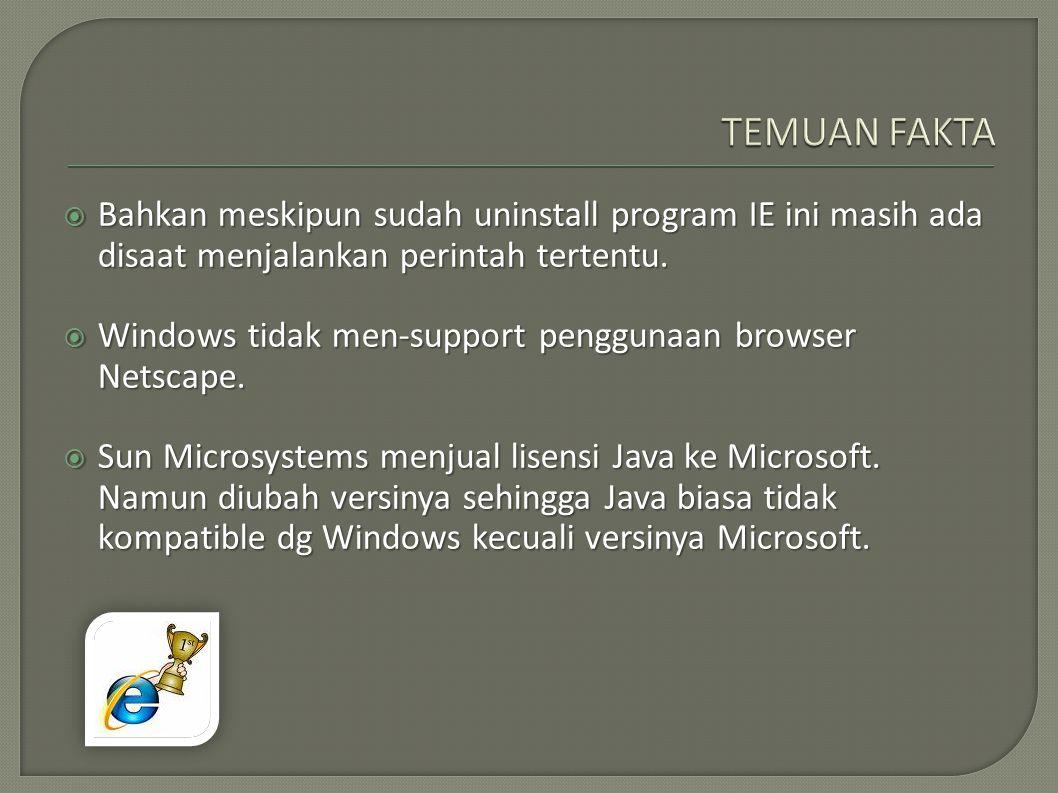  Bahkan meskipun sudah uninstall program IE ini masih ada disaat menjalankan perintah tertentu.  Windows tidak men-support penggunaan browser Netsca