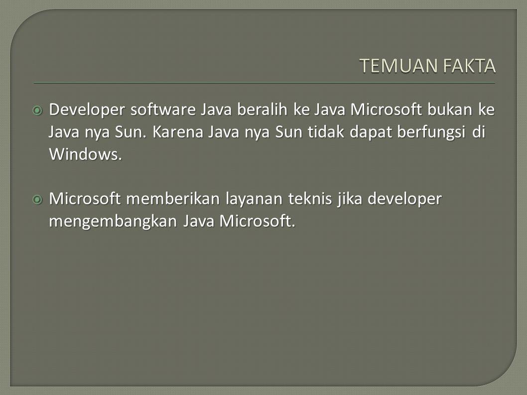  Developer software Java beralih ke Java Microsoft bukan ke Java nya Sun. Karena Java nya Sun tidak dapat berfungsi di Windows.  Microsoft memberika