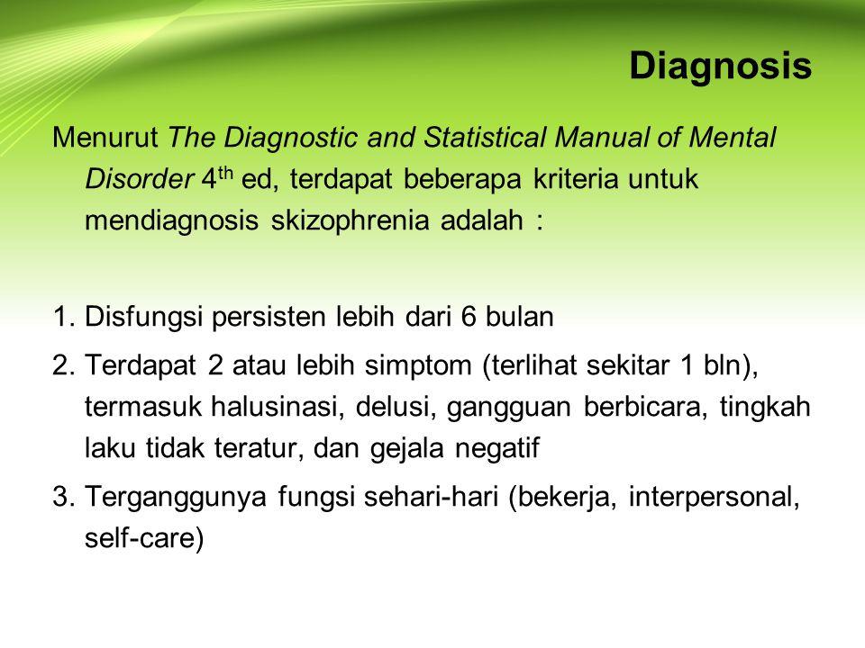 Diagnosis Menurut The Diagnostic and Statistical Manual of Mental Disorder 4 th ed, terdapat beberapa kriteria untuk mendiagnosis skizophrenia adalah : 1.Disfungsi persisten lebih dari 6 bulan 2.Terdapat 2 atau lebih simptom (terlihat sekitar 1 bln), termasuk halusinasi, delusi, gangguan berbicara, tingkah laku tidak teratur, dan gejala negatif 3.Terganggunya fungsi sehari-hari (bekerja, interpersonal, self-care)