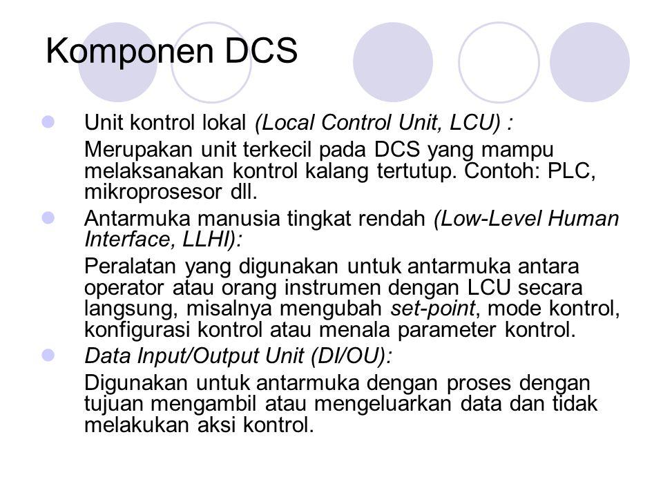 Komponen DCS (cont.) Antarmuka manusia tingkat tinggi (High-Level Human Interface, HLHI): Seperangkat peralatan yang mempunyai fungsi sama seperti LLHI tetapi dengan kemampuan lebih bagus dan pemakaian lebih nyaman untuk pengguna (user friendliness).