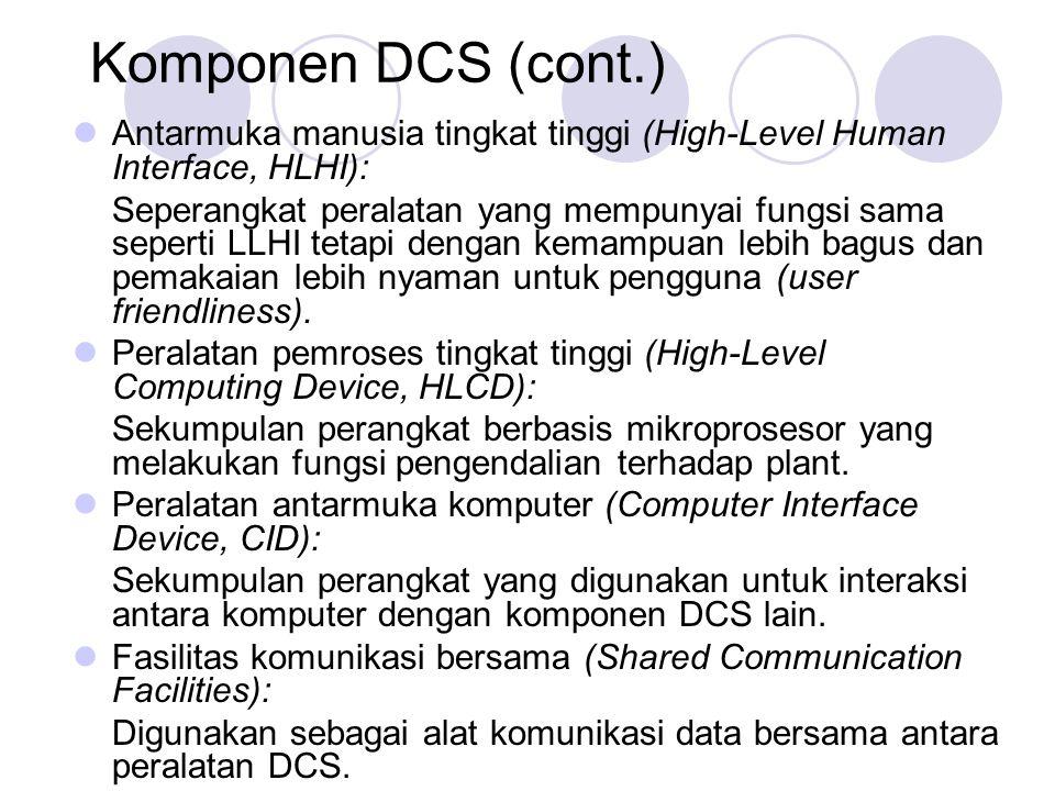 Komponen DCS (cont.) Antarmuka manusia tingkat tinggi (High-Level Human Interface, HLHI): Seperangkat peralatan yang mempunyai fungsi sama seperti LLH
